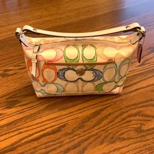 COACH small white purse with colorful logos